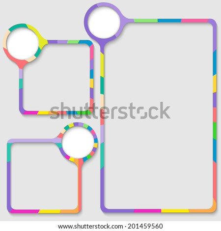 set of three frames for entering text with colored frame - stock vector