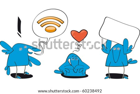 set of three funny bluebirds with WEB symbol - stock vector