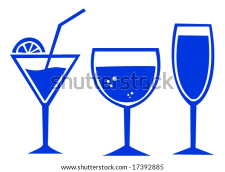 set of three glasses for drinks
