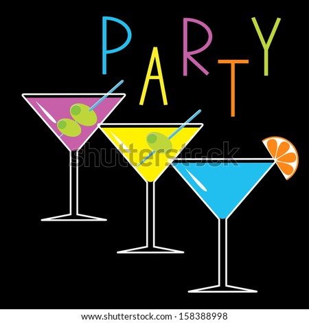 Set of three glasses with different cocktails. Black background. Cocktail party card. Vector illustration