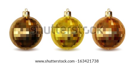 Set of three golden Christmas balls isolated on white background, illustration - stock vector