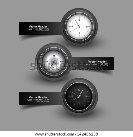 Set of three gray colorful headers with timers watch vector illustration - stock vector