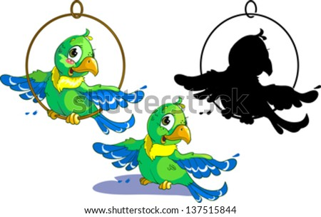 Set of three green parrot with silhouette. - stock vector