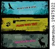 set of three grungy wildlife banners - stock vector