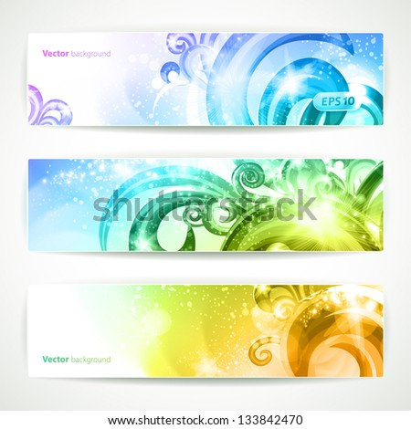 Set of three headers. Abstract artistic Backgrounds. - stock vector