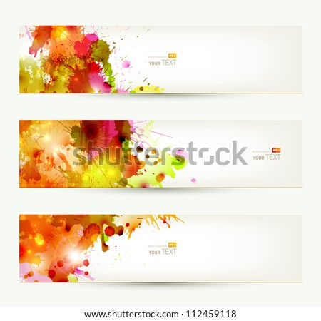 Set of three headers. Abstract artistic Backgrounds of autumn colors - stock vector