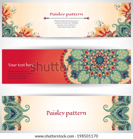 Set of three horizontal banners.Beautiful floral pattern in oriental style. Simple delicate ornament. Place for your text.  - stock vector