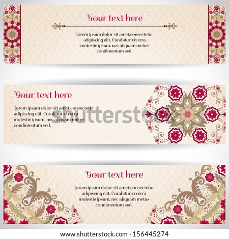 Set of three horizontal banners. Beautiful floral pattern in vintage style. Simple delicate ornament. Place for your text. - stock vector