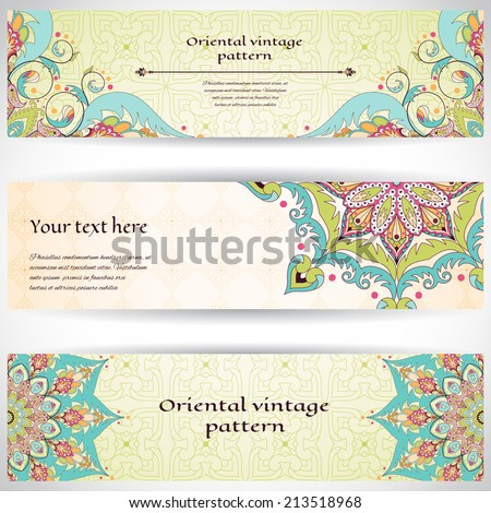 Set of three horizontal banners. Oriental floral pattern. Simple delicate ornament. Place for your text.  - stock vector