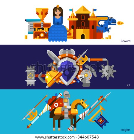 Set of three horizontal flat banners with reward elements medieval weapons kit and knights vector illustration - stock vector