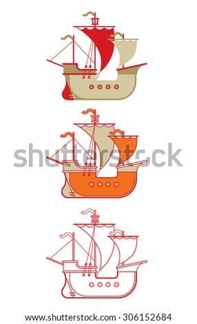 Set of three illustrations of historic caravel ship. - stock vector