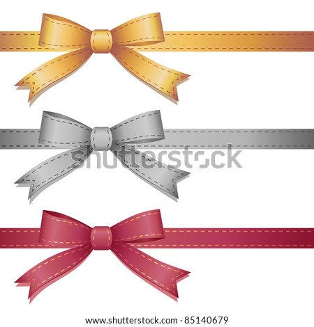 set of three leather bows on white background - stock vector