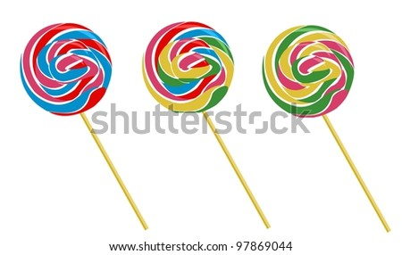set of three lollipops, vector isolated - stock vector