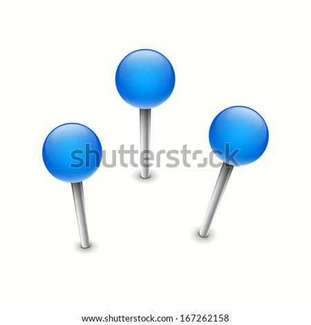Set of three map pin markers - stock vector