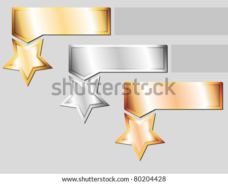 set of three metal elements on gray background - stock vector
