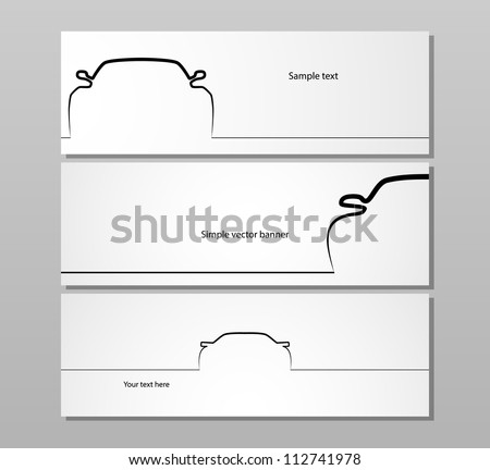 Set of three monochrome car contour backgrounds, EPS10 vector image. - stock vector