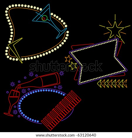Set of three neon lounge or bar signs ready for your text - stock vector