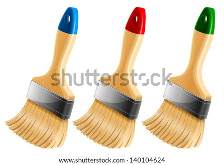Set of three paint brushes. Vector illustration. - stock vector