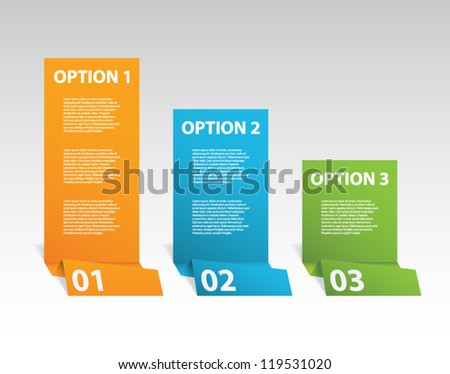 Set of three paper origami style banners for step presentation, business design, infographics, workflow layout, number options or reports. Clean and modern design - stock vector