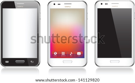 Set of three realistic mobile phone isolated on white background - stock vector