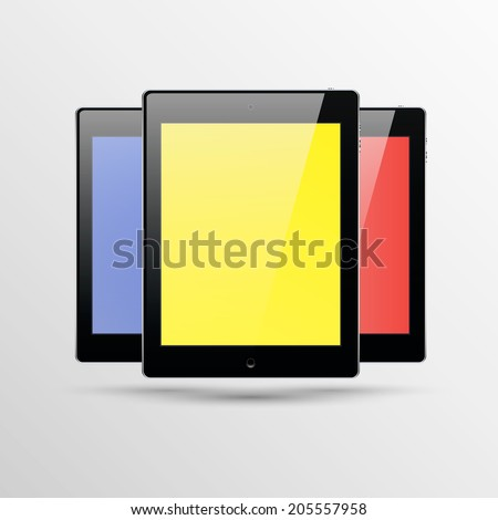 Set of three realistic tablets with blank screens. Isolated on white background. Vector illustration.