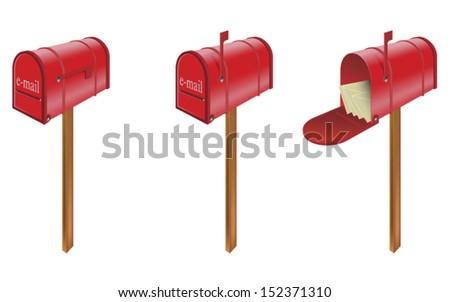 set of three red email mailbox  - stock vector