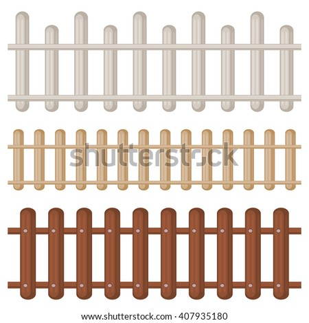 Set of three seamless colorful wooden fences isolated over white - stock vector