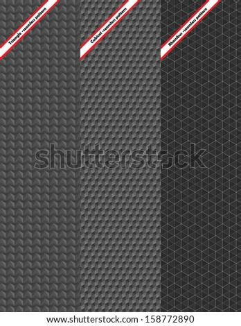 Set of three seamless pattern  - stock vector