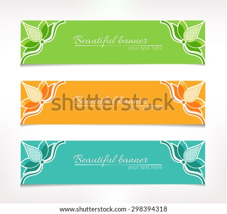 Set of three simple banners with abstract lotus flower in the corner in verdant, orange and turquoise version - stock vector