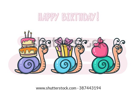 Set of three snails carrying Birthday gifts - vector postcard illustration - stock vector