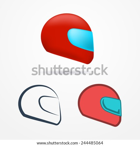 Set of three sport motorcycle helmets, realistic and flat - stock vector