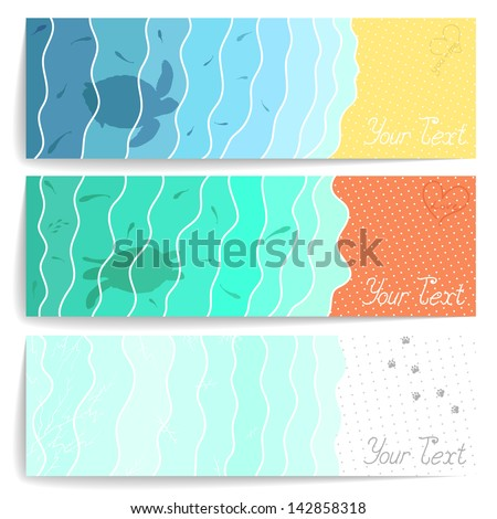 Set of three stylish postcards with water, sand and snow for your design - stock vector