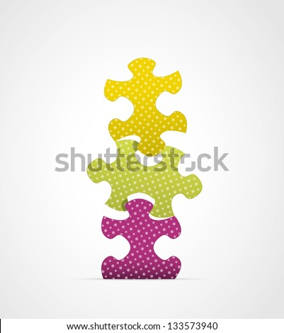 Set of three stylish staggering puzzle pieces / puzzle composition - stock vector