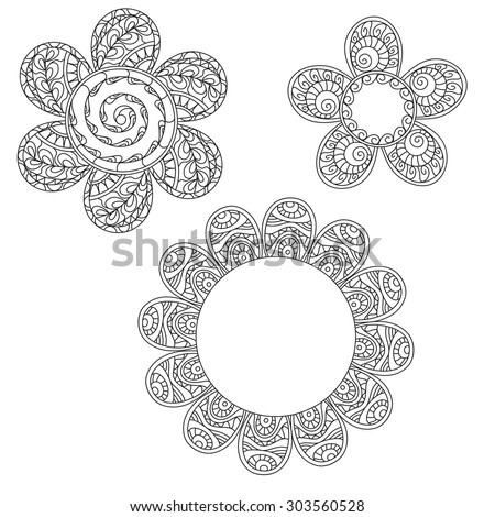 Set of three unusual decorative flowers on a white background