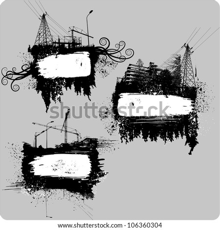 Set of Three Urban grunge frames made of stains and urban elements - stock vector