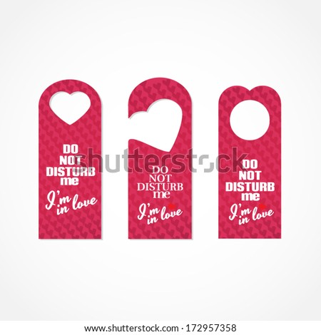 Set of three valentine's day themed do not disturb door signs - stock vector