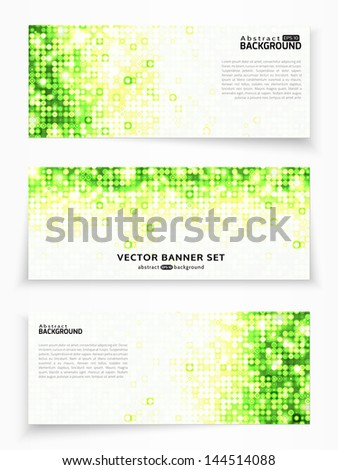 Set of three vector banners with green circles - stock vector
