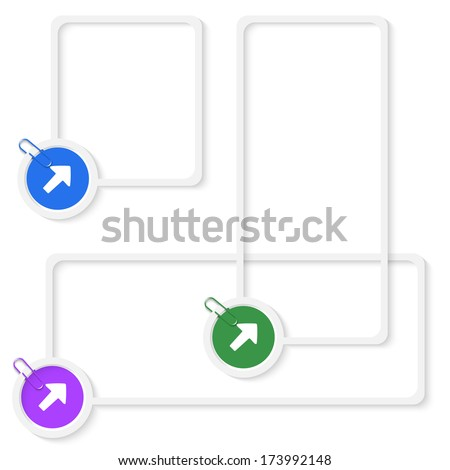 set of three vector boxes for any text with arrows and paper clip