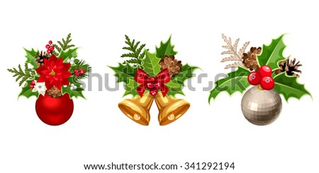 Set of three vector Christmas decorations with balls, poinsettia, fir-tree, cones, holly, and mistletoe isolated on a white background.  - stock vector