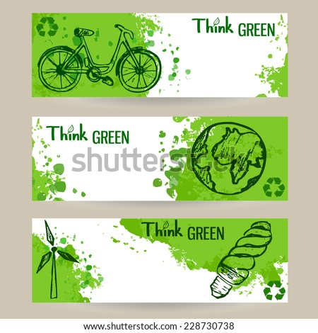 Set of three vector eco banners with green splashes and sketch style elements - stock vector