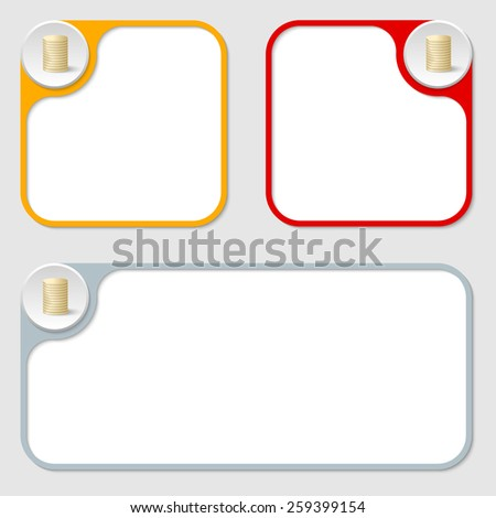 set of three vector frames and coin - stock vector