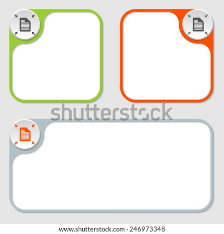 set of three vector frames and document icon - stock vector