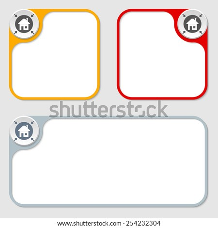 set of three vector frames and home icon - stock vector