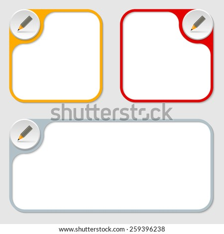 set of three vector frames and pencil - stock vector