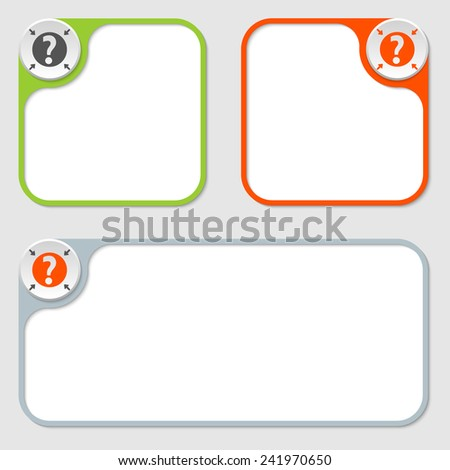 set of three vector frames and question mark - stock vector