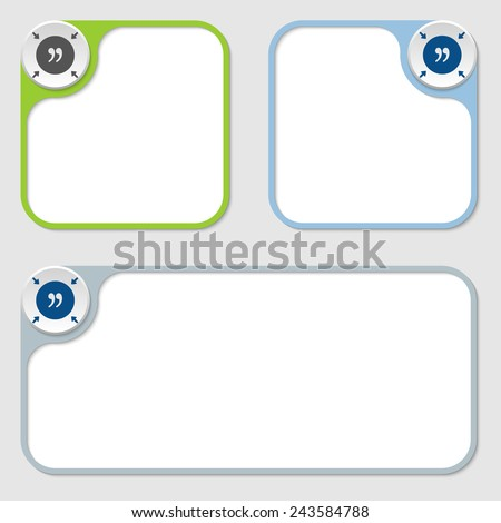 set of three vector frames and quotation mark - stock vector