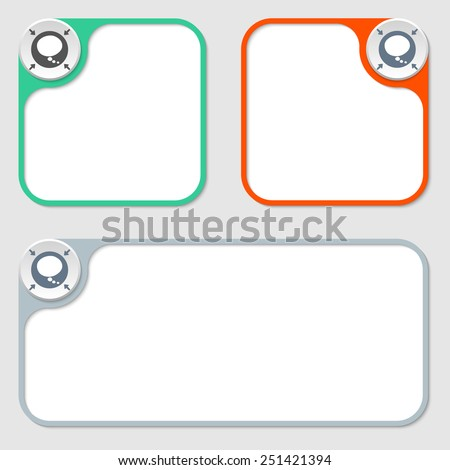 set of three vector frames and speech bubble - stock vector