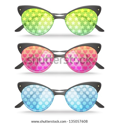 Set of three vector funny patterned sunglasses - stock vector