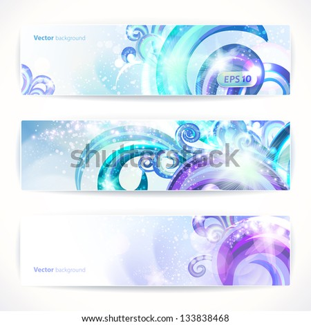 Set of three vector headers. Abstract artistic Backgrounds. - stock vector