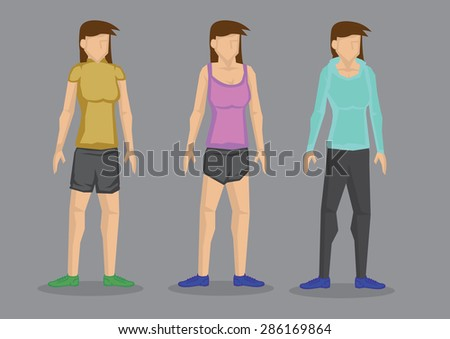 Set of three vector illustrations of cartoon women in different fashion outfits for sporty look isolated on grey background. 